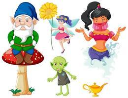 conjunto de personagem de desenho animado de fantasia de conto de fadas em fundo branco vetor