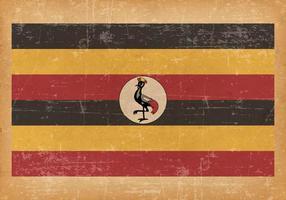 Antiga bandeira do Grunge de Uganda vetor