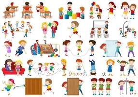 meninos, meninas, crianças em tema de atividade divertida educacional vetor