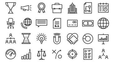 ícones de linha de negócios vetor