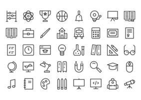ícones de linha de educação vetor