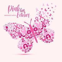 design do mês de conscientização do câncer de mama