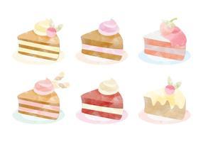 Coleção de bolos de aquarela de vetores