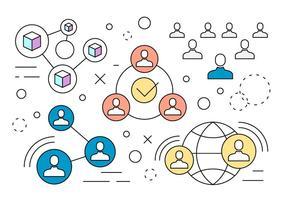 Vetores de redes de redes sociais lineares livres