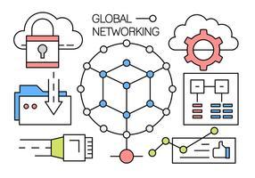 Ícones de vetor de redes globais lineares livres