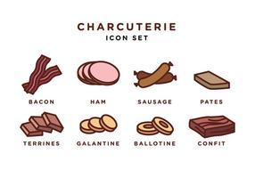Conjunto de ícones de charcutaria Vector grátis