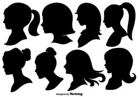 Woman Profile Silhouettes - Ilustração vetorial vetor
