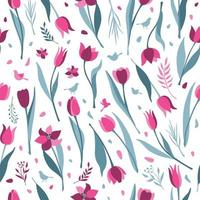 padrão sem emenda de tulipa em fundo branco vetor