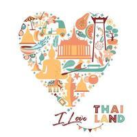 coleção de símbolos da Tailândia no coração vetor