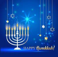 feliz hanukkah brilhante fundo com menorá vetor