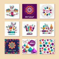 elementos do vetor de holi feliz para design de cartão, design de holi feliz com ícone colorido em 9 cartões