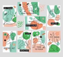cartões de ioga de qualidade premium vetor