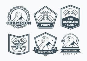 Coleção de emblemas de luta de braço vetor