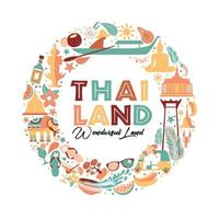 coleção de símbolos da Tailândia em guirlanda vetor