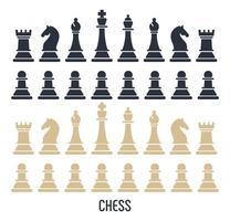 figuras de xadrez isoladas em fundo branco vetor