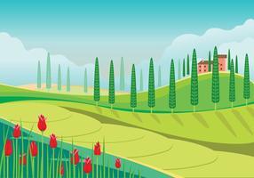 Linda vista panorâmica da paisagem da Toscana vetor