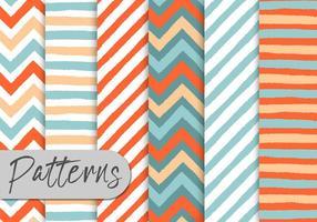 Conjunto de padrões de listras coloridas vetor