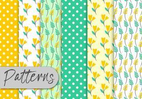 Conjunto de padrões florais de hortelã amarela vetor