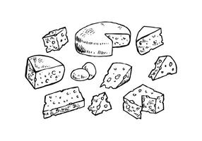 Coleção de queijo para o vetor da placa de charcuterie