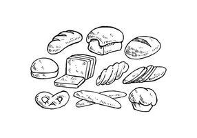 Ilustração desenhada por um vetor de pão desenhado à mão