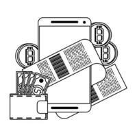 símbolos de pagamento online criptomoeda bitcoin em preto e branco