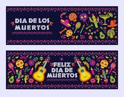 banners mexicanos do dia de los muertos
