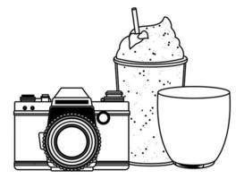 desenho animado de verão praia e férias em preto e branco