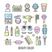 cosméticos e ícones de beleza em estilo linear vetor