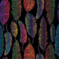 padrão sem emenda de penas de arco-íris