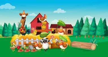 cena de fazenda com estilo de desenho animado de fazenda de animais vetor
