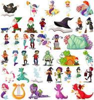 conjunto de personagens de desenhos animados de fantasia e tema de fantasia isolado no fundo branco vetor