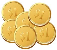 estilo cartoon de moedas de ouro isolado no fundo branco vetor