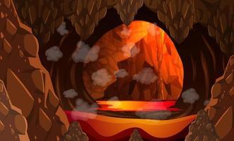 caverna escura infernal com cena de lava vetor