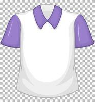 camisa branca em branco com mangas curtas roxas em transparente