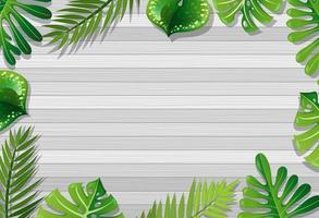 vista superior da mesa de madeira em branco com elementos de folhas