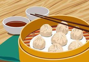 Dumplings de vapor chineses vetor
