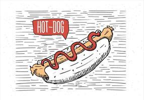 Ilustração desenhada à mão com desenho de cachorro quente vetor