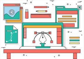 Elementos de desktop vetoriais de design plano grátis vetor