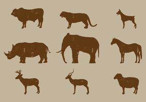 Silhuetas de mamíferos vetor