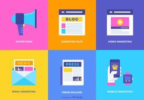 Conjunto de ícones de vetores planos de marketing digital