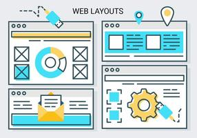 Plano linear linear do vetor do layout da Web