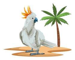 desenho animado cacatua pássaro selvagem na praia vetor