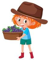 menina de crianças com frutas ou vegetais em fundo branco vetor