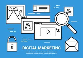 Vector de conceito de marketing digital plano grátis