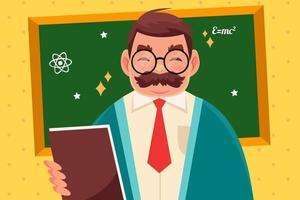 desenho animado do dia do estudante internacional com o professor