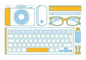 Elementos de ferramentas de escritório lineares grátis