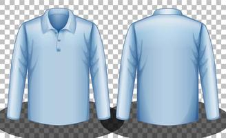 camisa pólo azul de mangas compridas frente e verso vetor