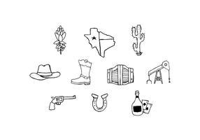 Vetor de ícone de esboço livre de texas