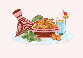 Vetores de pratos Tajine