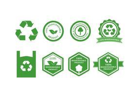 Coleção de emblemas de vetores biodegradáveis gratuitos